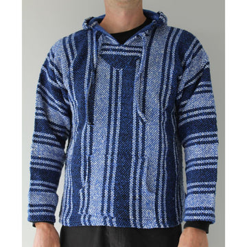 Blue and white mexican hoodie - Baja surfer drug rag