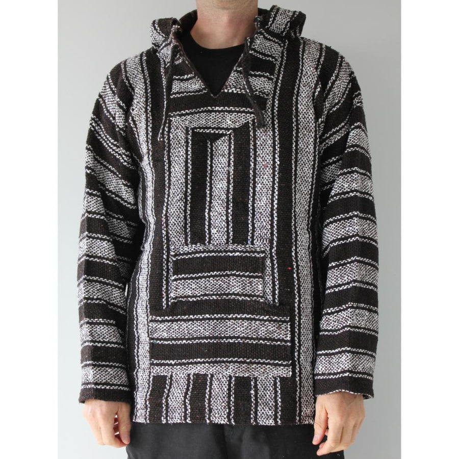 Brown, white and black poncho hoodie