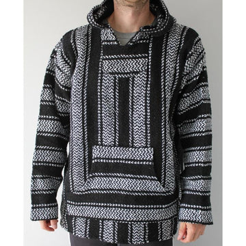 Black and white Baja poncho