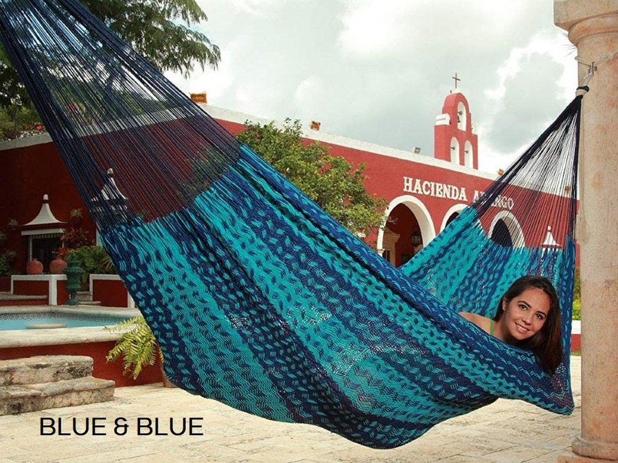 Two Tone Blue Mexican Hammock