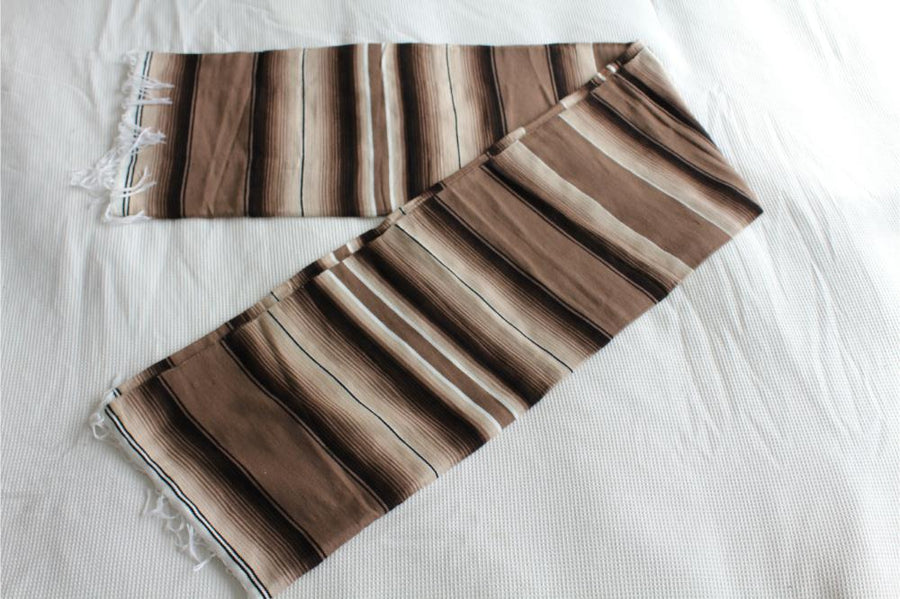 Brown striped blanket - Mexican handmade