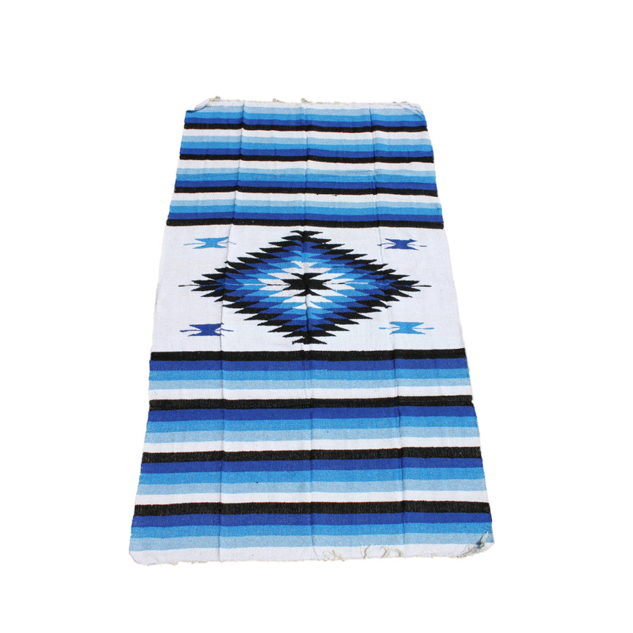 Blue and White Mexican Diamond Blanket