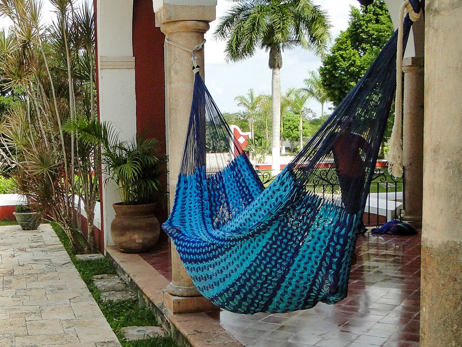 Mexican thick cord blue hammock