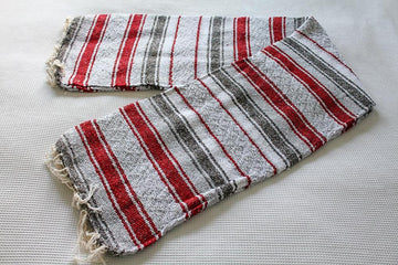 Mexican Falsa Blanket - Grey, White and Red