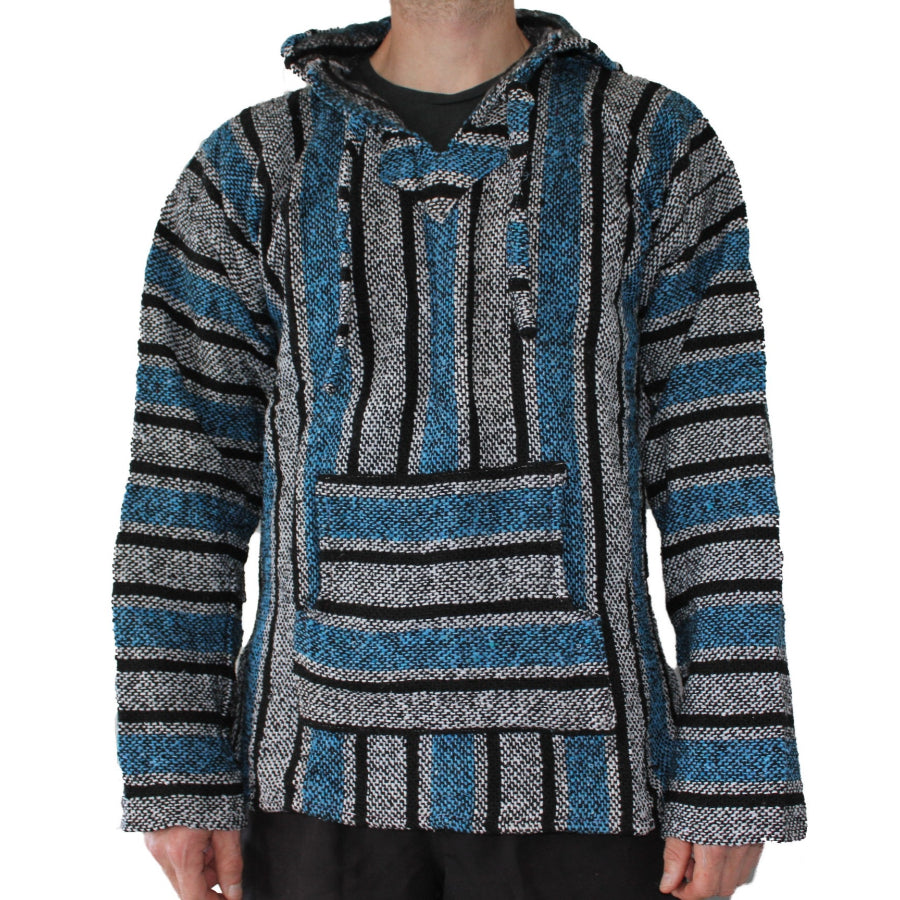 Blue, white and black Baja hoodie - Mexican