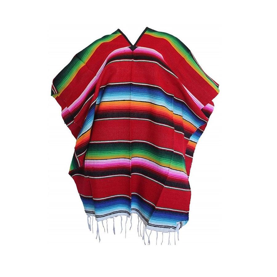 Mexican Striped Poncho - Red - Sarape Style