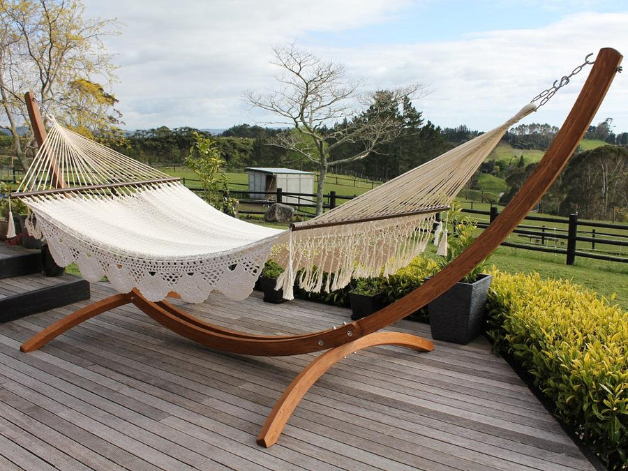 Resort Style Hammock - King Size - White Cotton