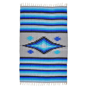 Mexican Saltillo Blanket - Blue