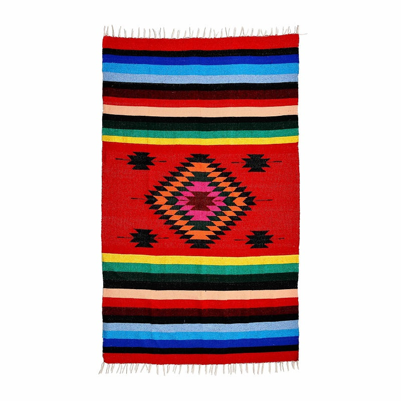 Mexican Blanket - Red and Colourful Striped - Woven