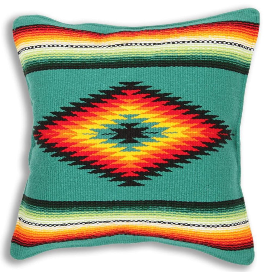 Teal Cushion Cover - Diamond Centre Mexican Blanket