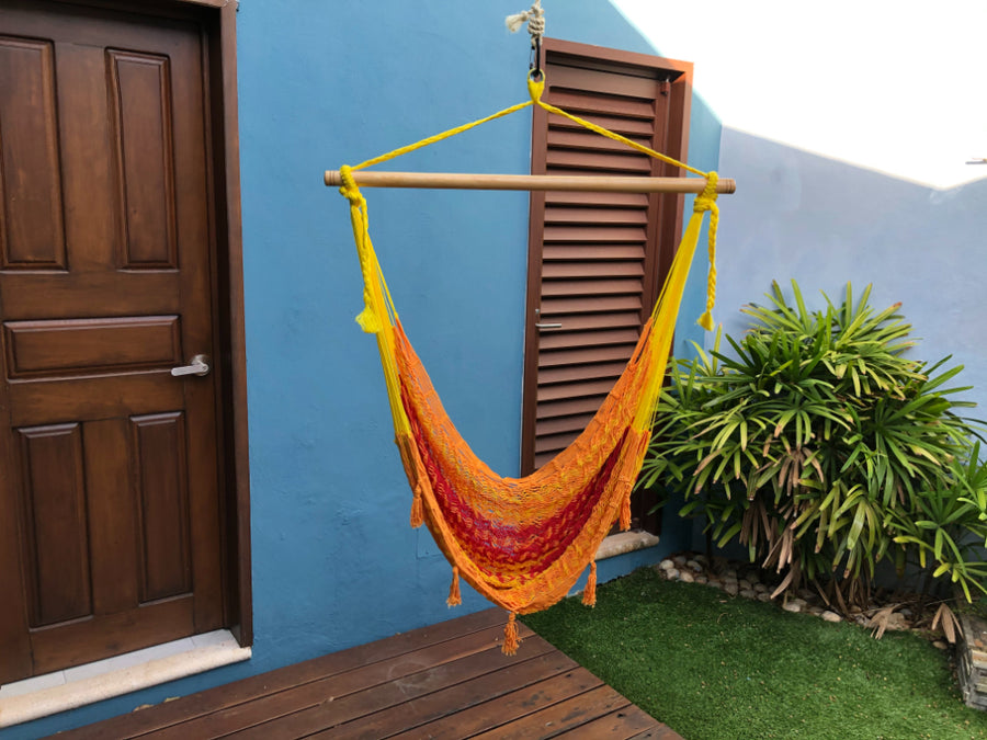 Mexican Hanging Hammock Chair - Red, yellow and orange