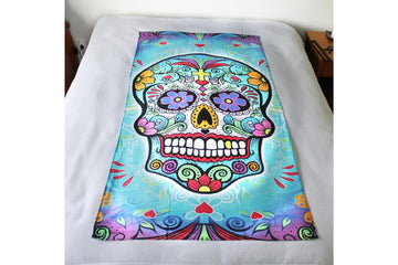 Extra large beach towel - day of the dead theme - skull design