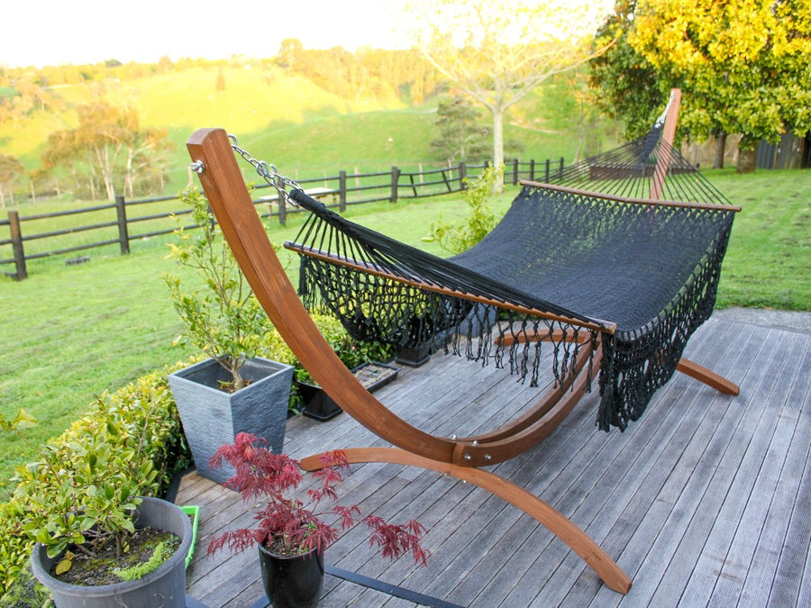 Mexican Woven Bar Hammock - Weather-resistant Black Polyester Material