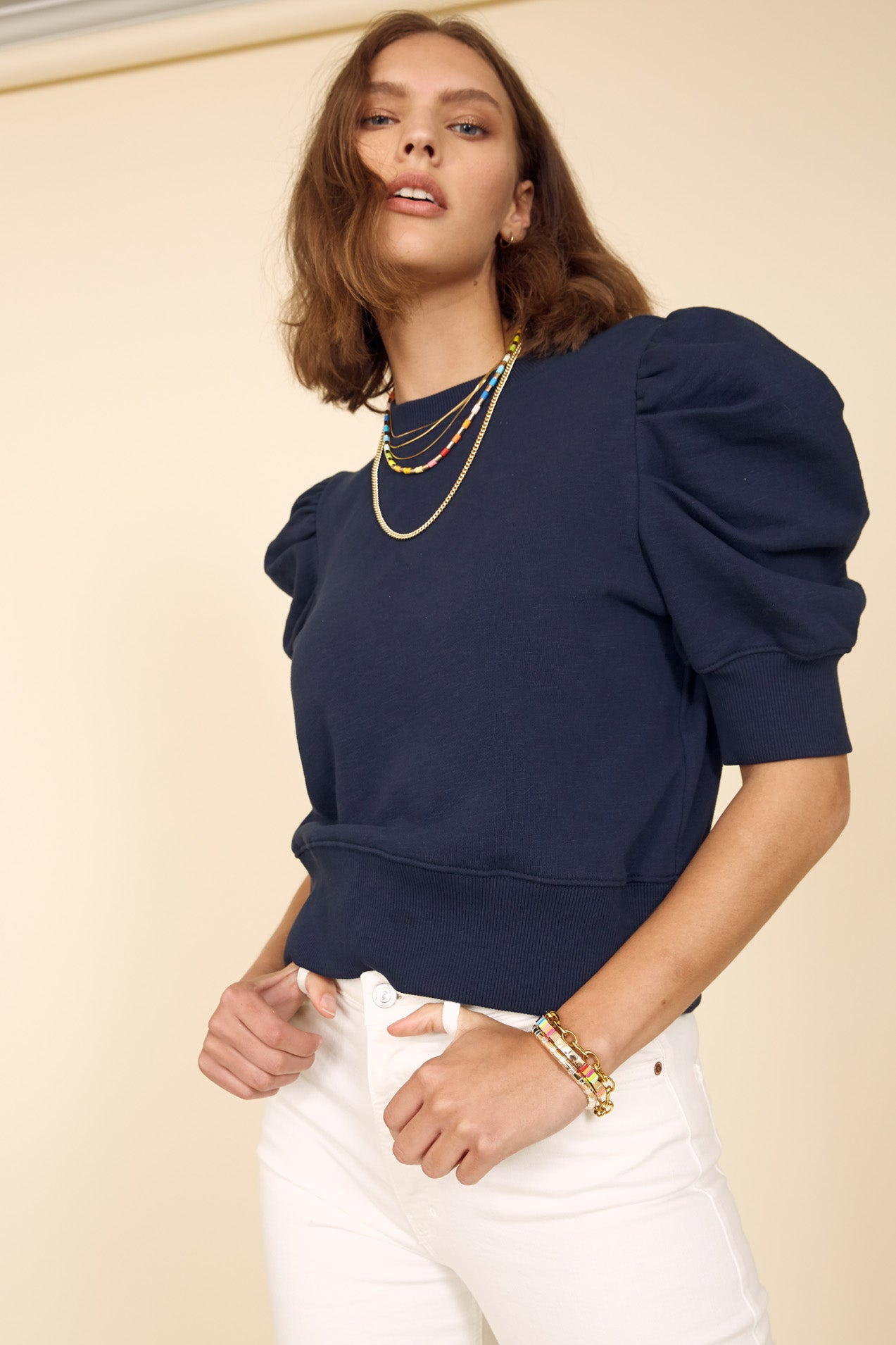 The Just Enough Puff Short Sleeve Sweatshirt in Navy