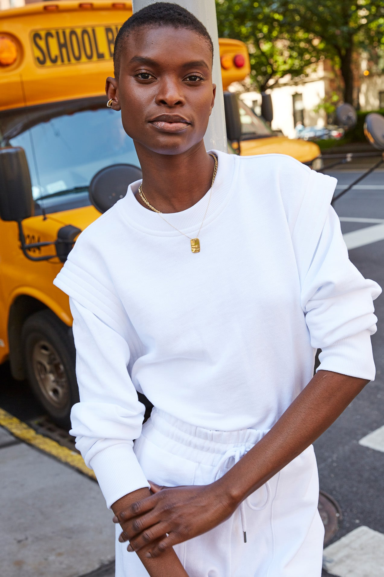 The Gimme That Shoulder Sweatshirt in White