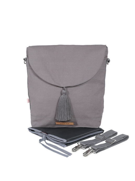 Wickeltasche grey marble in grau