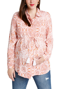 Umstands- & Stillbluse *flower chains* in rosa von mara mea mit Paisleymuster