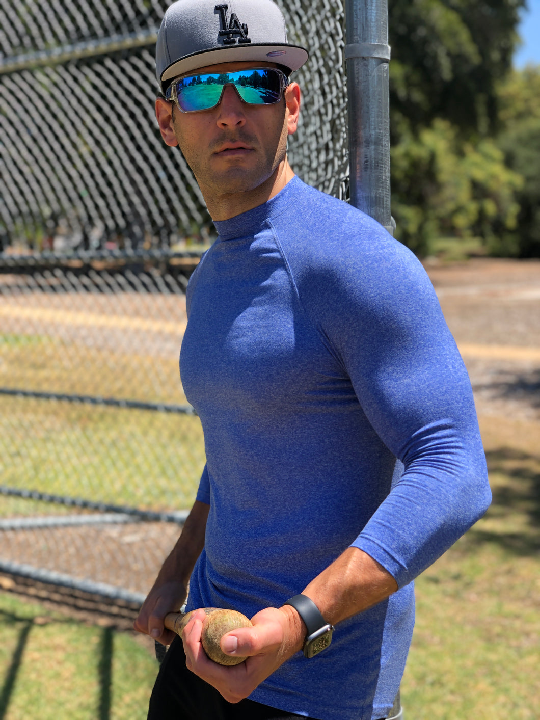 Juiced 3/4 Baseball Tee - Heathered Blue