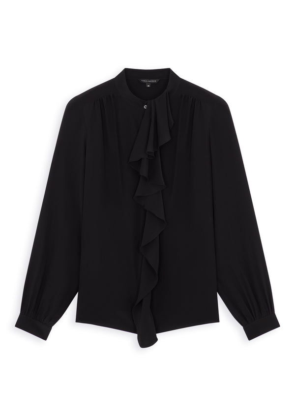 Blouse with Mao Collar Black