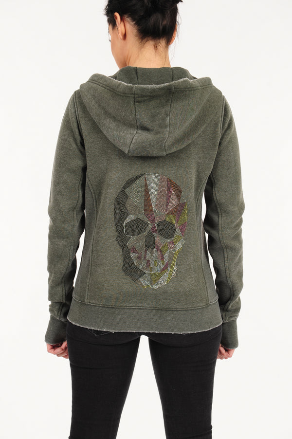 Basic Hoodie Skull Fatigue Green