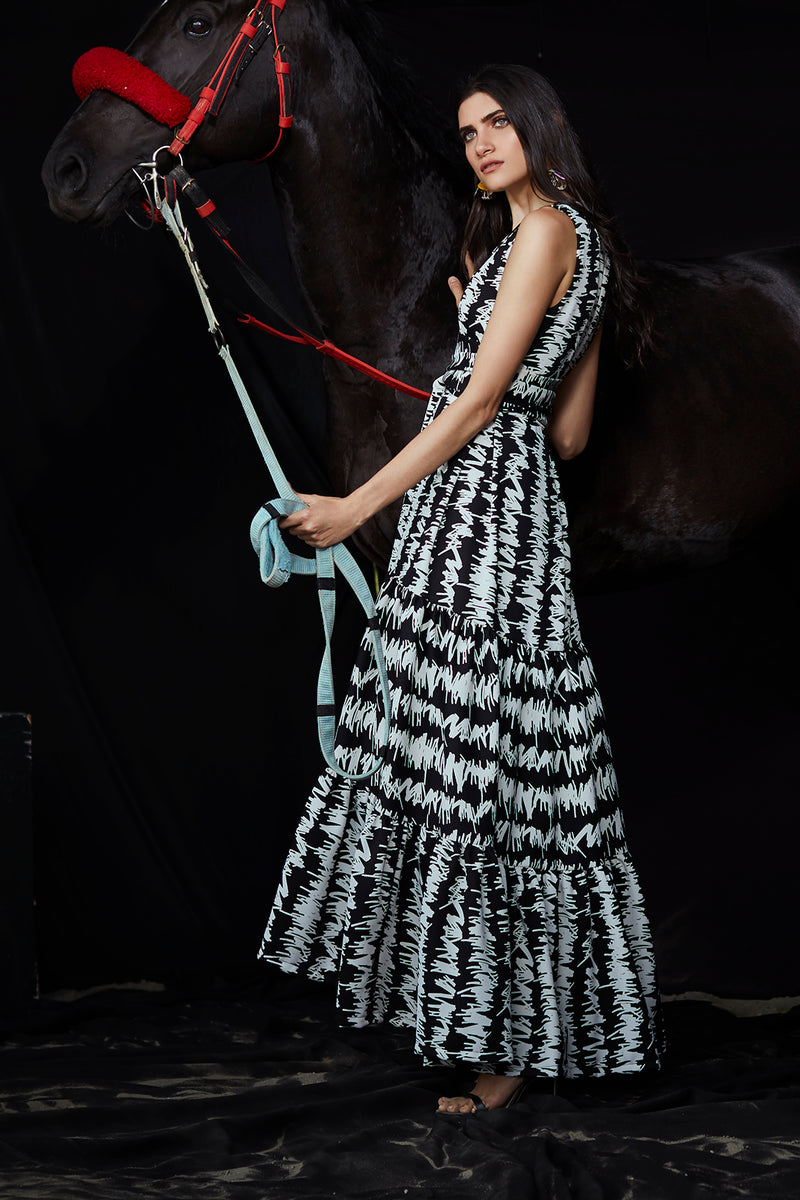 Ana Black and White Long Dress
