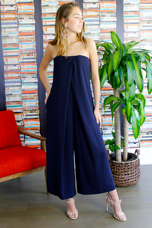 Dark Blue Strapless Jumpsuit