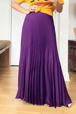 Aubergine Pleated Skirt