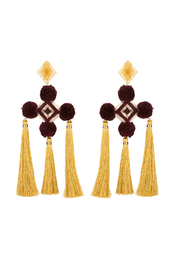 Nazar Burgundy Earrings