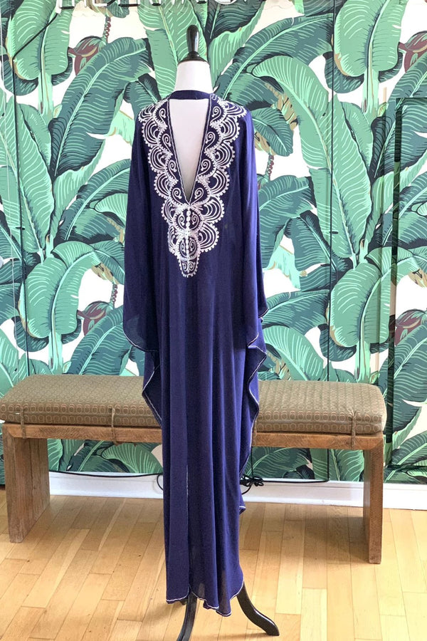 Moroccan Long Kaftan - Navy with White Detail