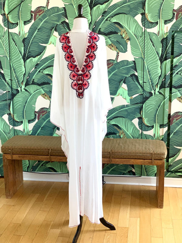 Moroccan Long Kaftan - White with Red & Navy Detail