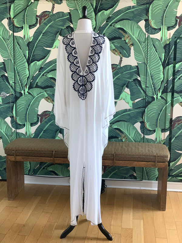 Moroccan Long Kaftan - White with Navy Detail