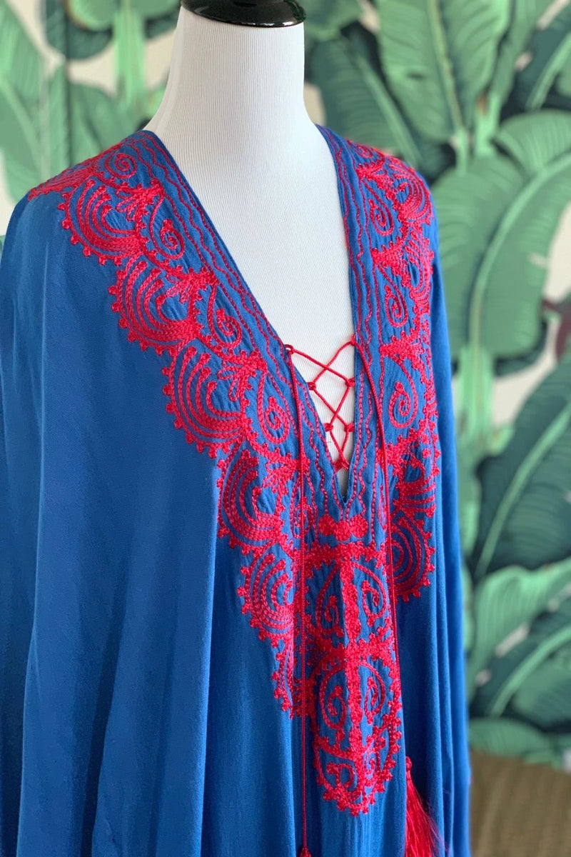 Moroccan Long Kaftan - Royal Blue with Red Detail