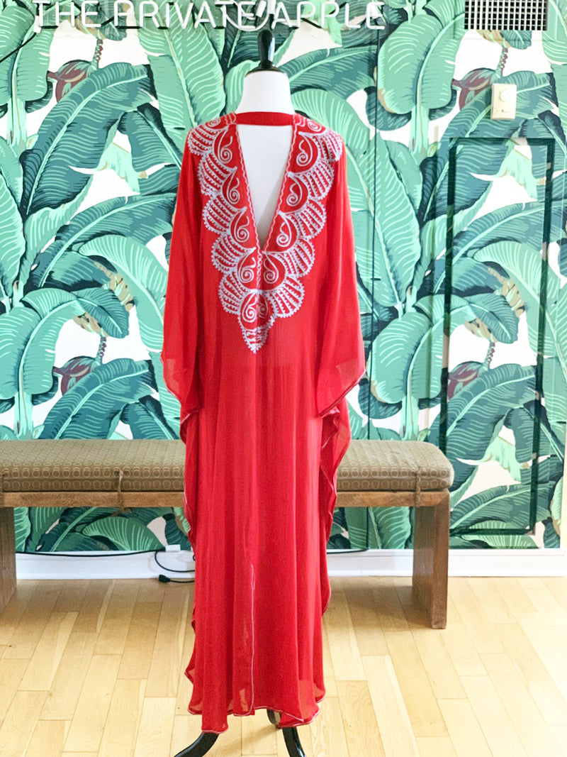 Moroccan Long Kaftan - Red with Light Blue Detail