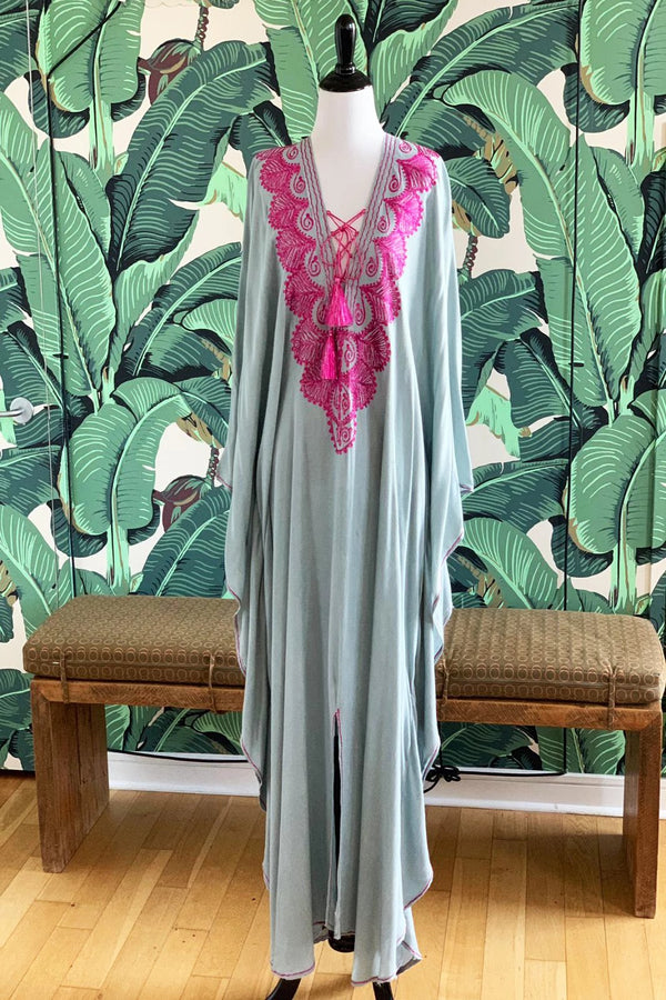 Moroccan Long Kaftan - Gray with Pink Detail