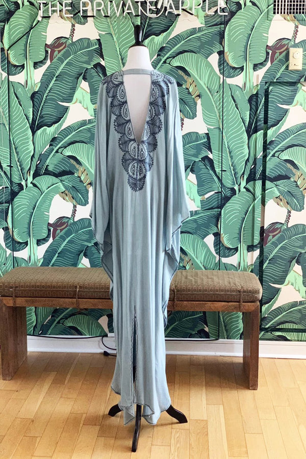 Moroccan Long Kaftan - Light Blue with Dark Gray Detail