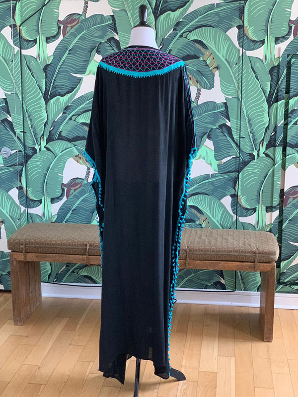 Medina Long Kaftan - Black with Acqua & Pink Detail