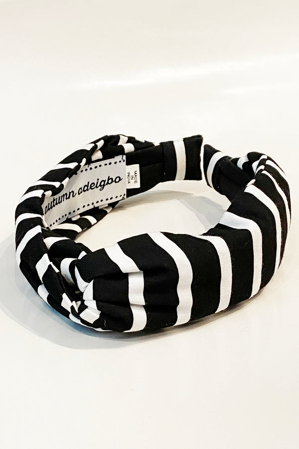 Headband Horizontal Stripes B/W