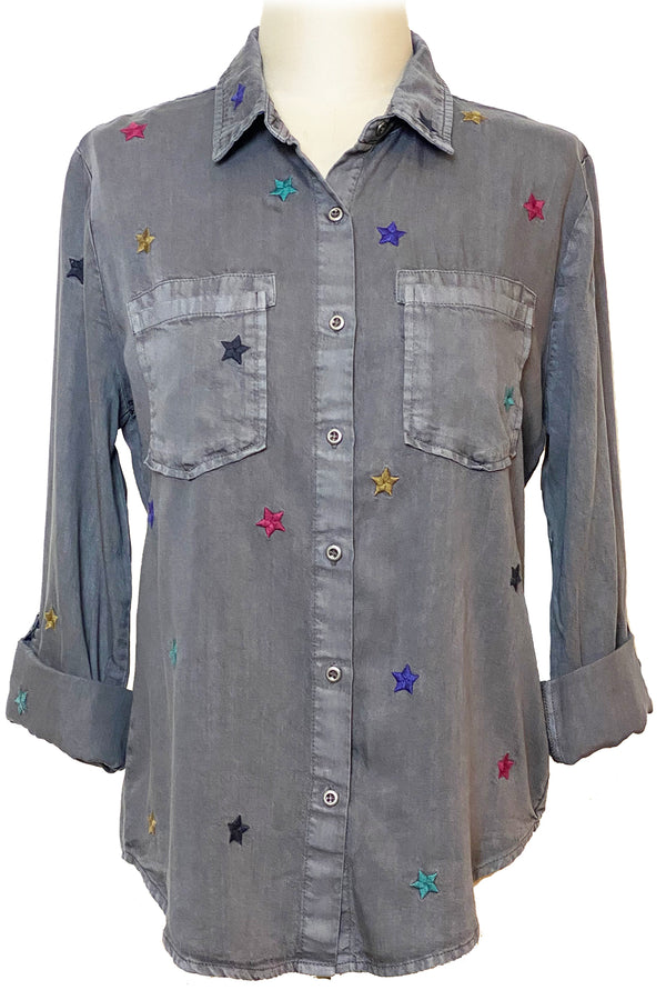 Grey Embroidered Holiday Multi Star Shirt