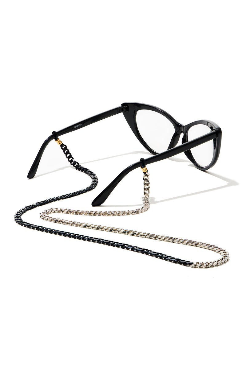 Eyeglass Holder - Silver and Black