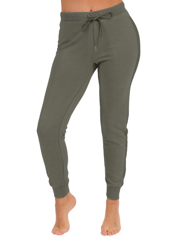 Blinged Out Basic Jogger Fatigue Green
