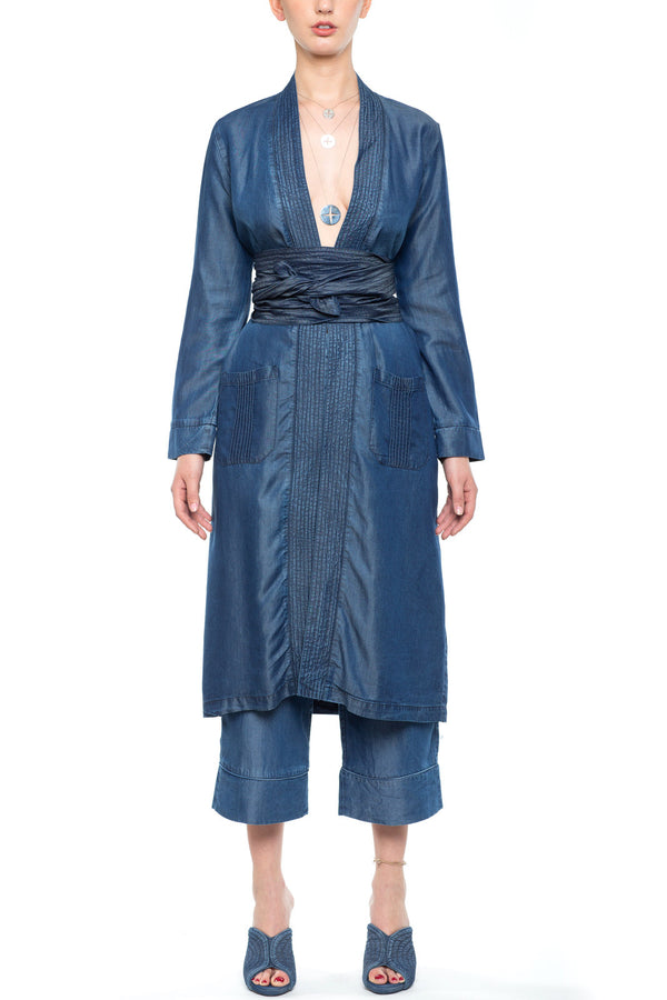 Kimono with Belt Dark Blue