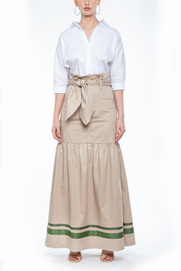 Long Skirt with Belt khaki