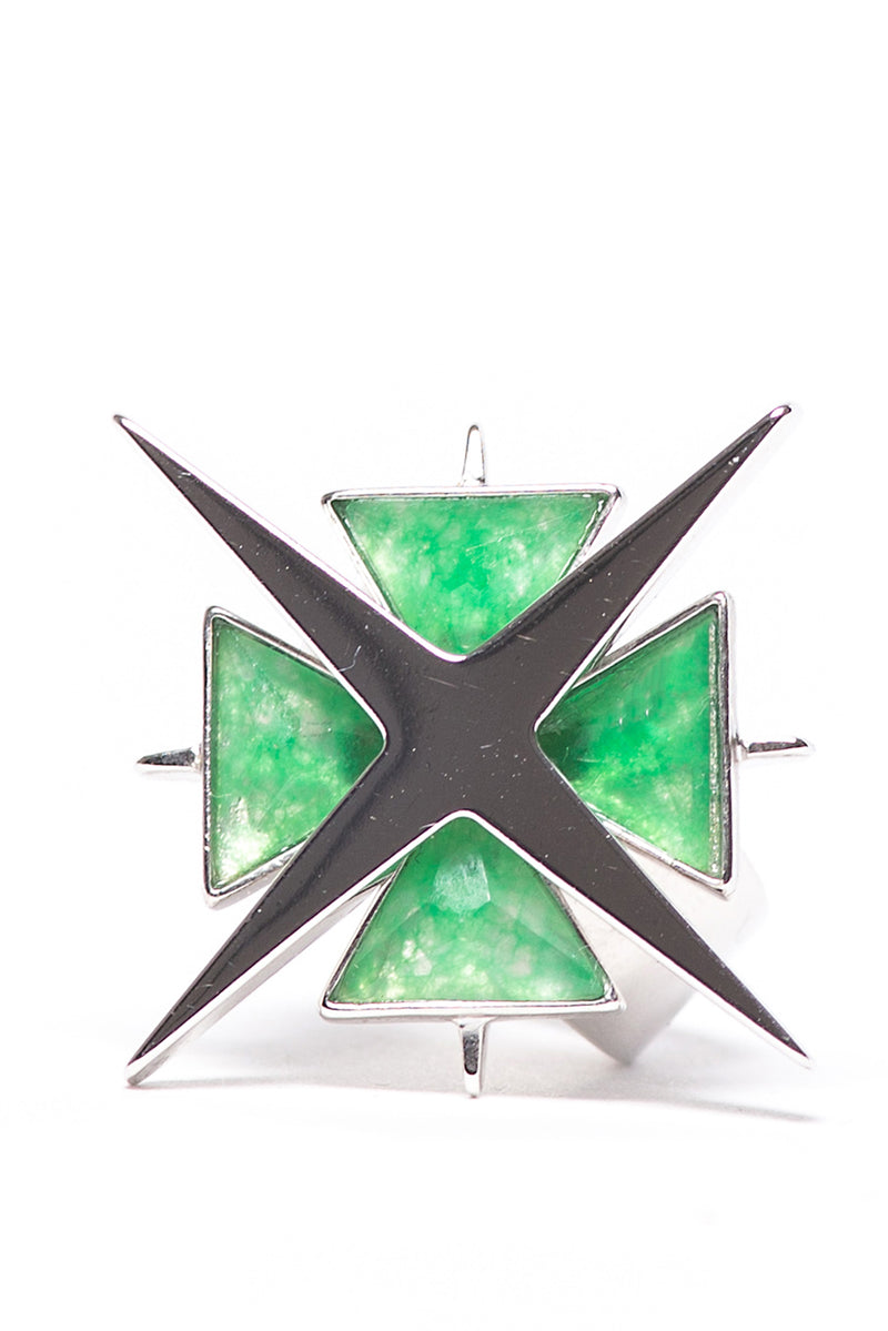 Star of Venus Green Jade Ring