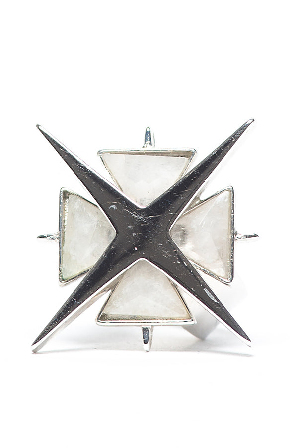 Star of Venus White Quartz Ring
