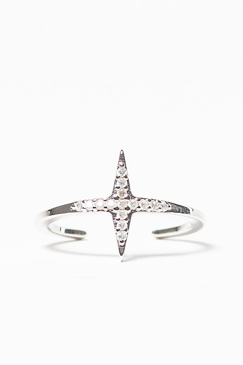 Mini Star Ring Rhodium with Zirconia