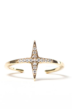 Mini Star Ring Gold with Zirconia