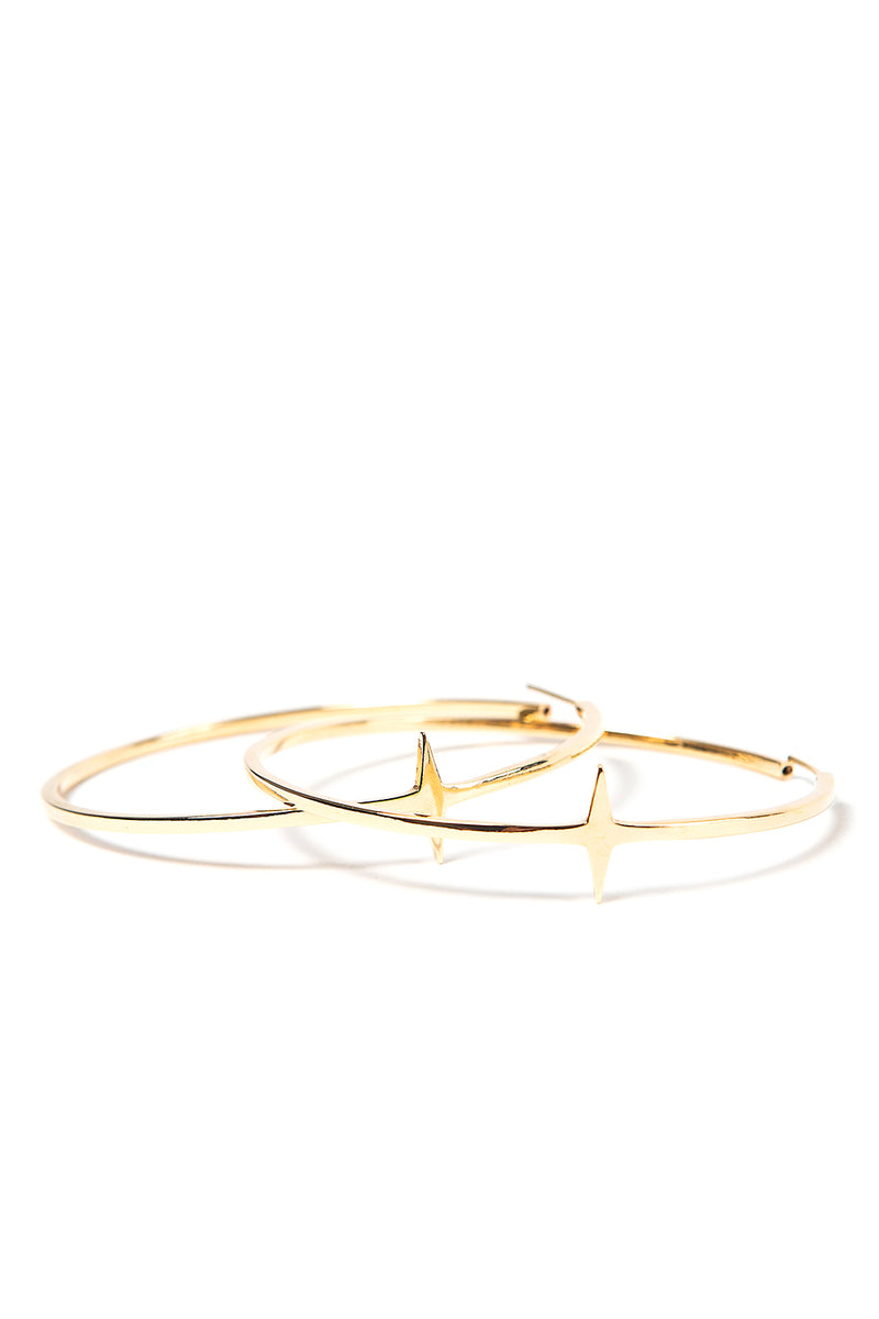Large Star Hoops Gold