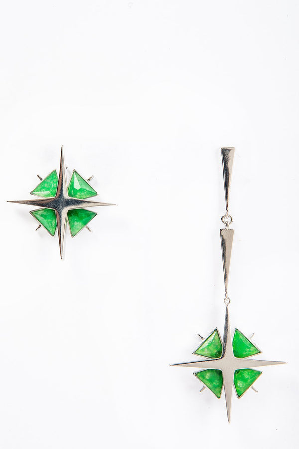 Star Asymmetrical Earrings Green Jade