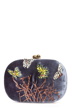 Olive Butterfly Grey Clutch
