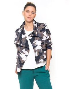 Camo Cropped Asymmetrical Jacket